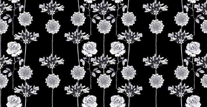 mix floral pattern black